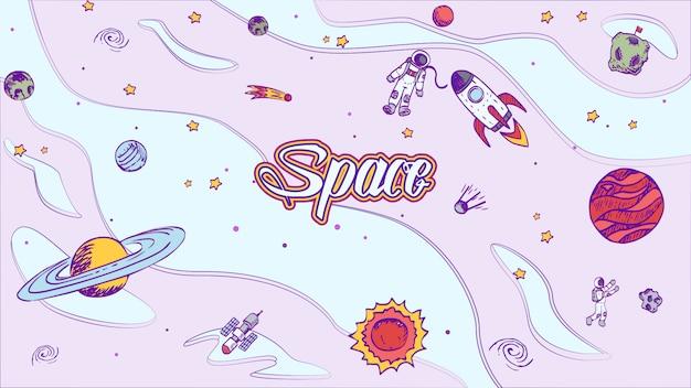 Raumdesignhintergrund des vektors hand gezeichneter mit beschriftung.