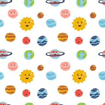 Raumelement nahtloses muster im flachen kindischen stil der karikatur planet erde venus quecksilber jupiter