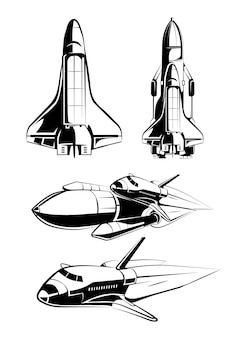 Raumelemente für vintage-astronautenvektoretiketten. rakete im weltraum, technologiewissenschaft, shuttle-illustration starten
