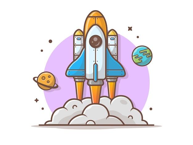 Raumfähre, die mit planeten-und erdvektor-illustration sich entfernt
