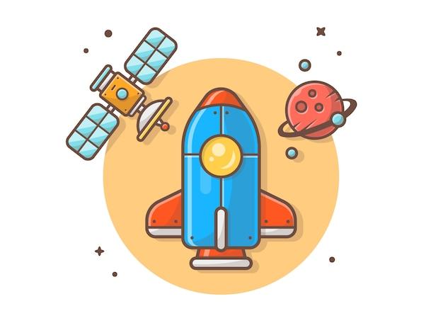 Raumfähre mit planeten-und satellitenikonen-illustration