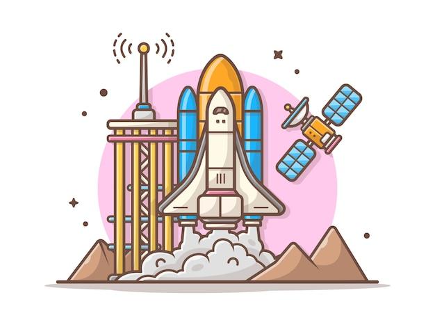 Raumfähre mit turm-, satelliten- und gebirgsikonen-illustration