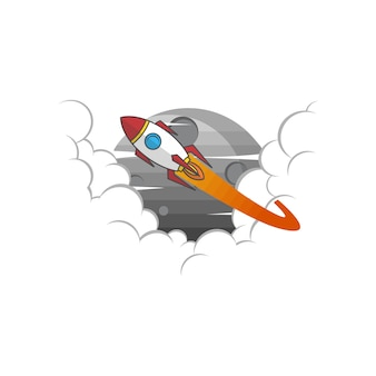 Raumfähre-raketenzeichenfarblogo-firmenzeichenvektor