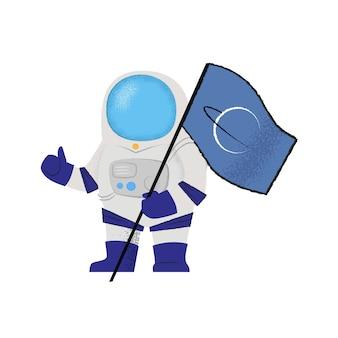 Raumfahrer, der flagge und daumen hoch zeigt. explorer, pionier, mission