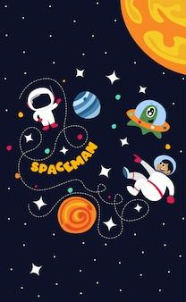 Raumfahrer im weltraum mit aller stern- und planetenillustration