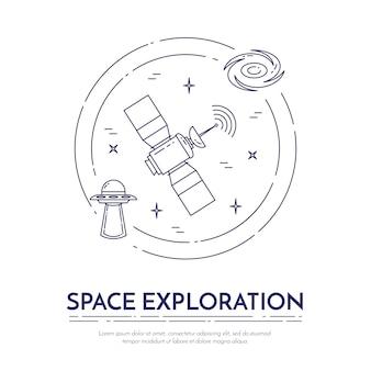 Raumfahrt linie banner. satz von elementen von planeten, raumschiffen, ufo, satellit, fernglas und anderen kosmos-piktogrammen. konzept für website, karte, infografik, werbung. vektor-illustration