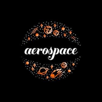 Raumfahrtlogo moderne kreisgekritzelkunst des planetariums