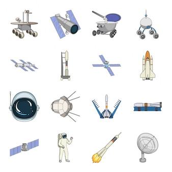 Raumfahrttechnik cartoon set symbol. lokalisierter gesetzter ikonenastronaut der karikatur des universums. weltraumtechnologie .