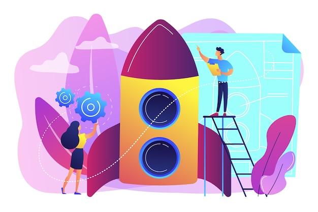 Raumfahrttechniker und ingenieur beim bau von raketen, winzige leute. raumfahrttechnik, luft- und raumfahrtindustrie, konzept des weltraumerkundungsprozesses. helle lebendige violette isolierte illustration
