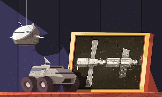 Raumfahrzeuge auf einem regal