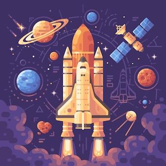 Raumforschung konzept. flache illustration der raumgegenstände. shuttle starten hintergrund
