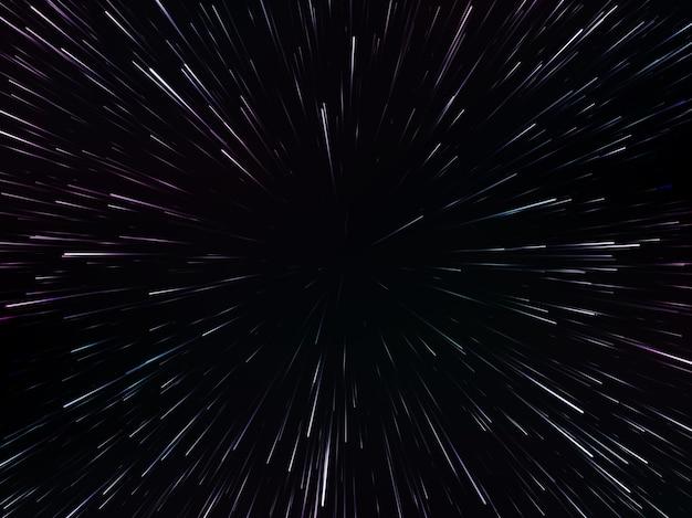 Raumgeschwindigkeit. abstrakte dynamische starburst-linien oder strahlen, illustration