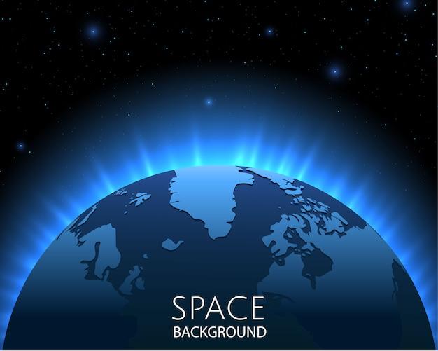 Raumhintergrund mit blauem licht von hinten des planeten