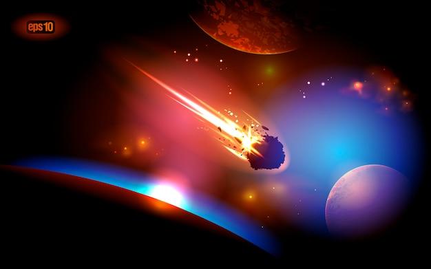 Raumhintergrund mit fallendem asteroiden