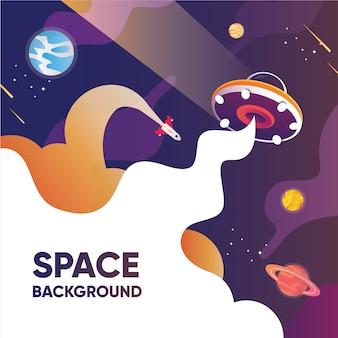 Raumhintergrund mit ufo-entführungsgalaxie und planetenraketenkomet mit sternen und mond im himmel isolierte grafische darstellung