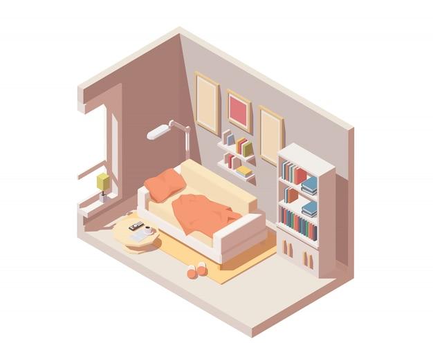 Rauminnenikone. beinhaltet sofa, bücherregal, tisch und andere zimmermöbel und -ausstattung.