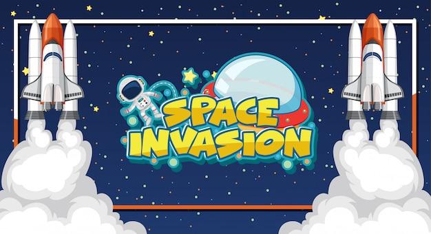 Rauminvasionsschablone mit astronaut und zwei raumschiffen