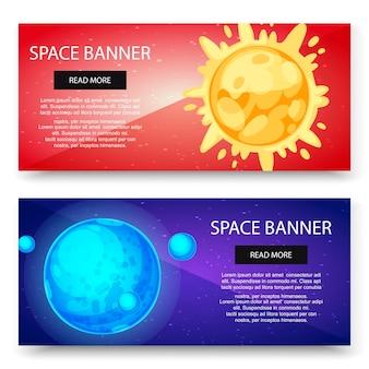 Raumkosmos und sonnensystemplaneten-fahnenschablonensatz. blauer planet mit satelliten und sonne auf roter galaxie