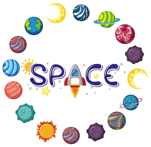 Raumlogo mit vielen planeten in kreisform isoliert