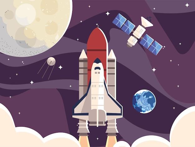 Raummond raumschiff satellit und planet galaxie illustration