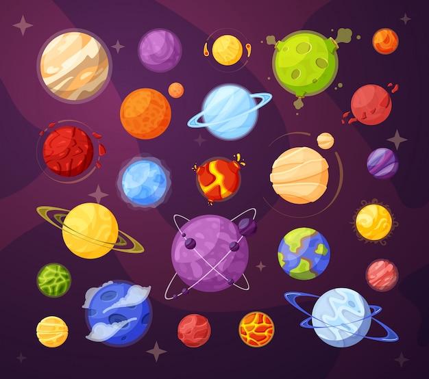 Raumplaneten und sternkarikaturillustrationen gesetzt