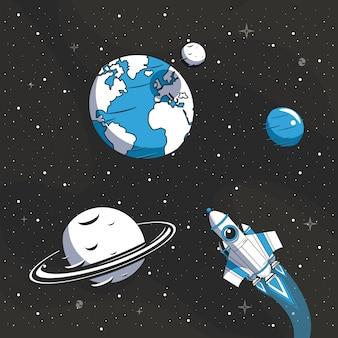 Raumschiff fliegt in den weltraum