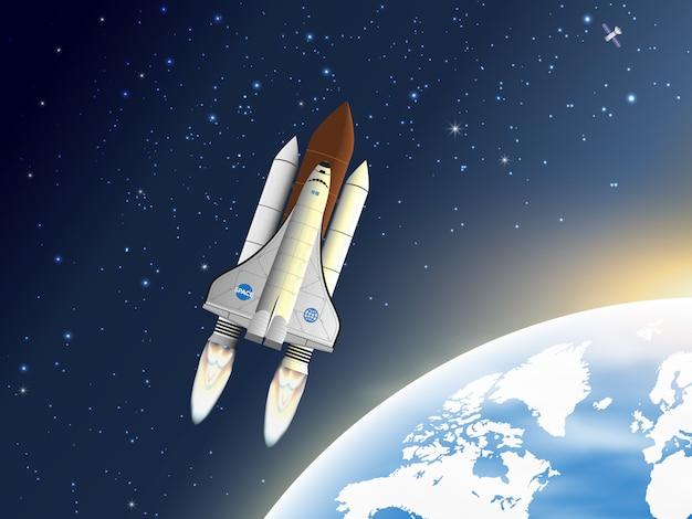 Raumschiff fliegt nahe der erdumlaufbahn.