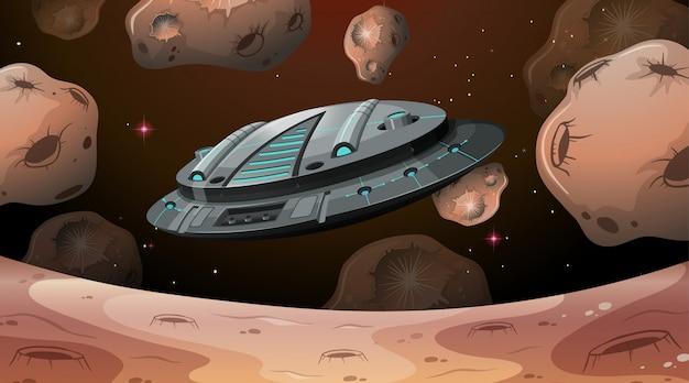 Raumschiff fliegt über mars