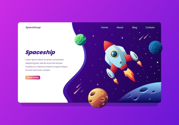 Raumschiff in space landing page