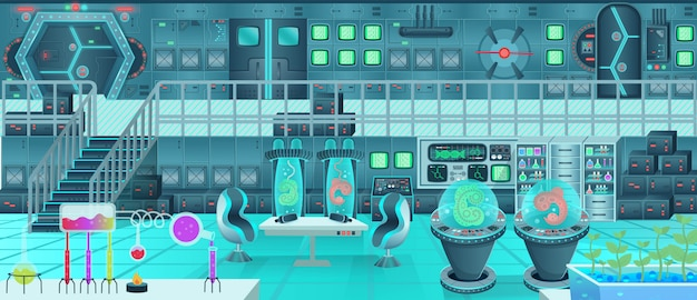 Raumschiff interieur, labor. karikaturvektorillustration.