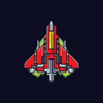 Raumschiff mit flachen und sauberen stil