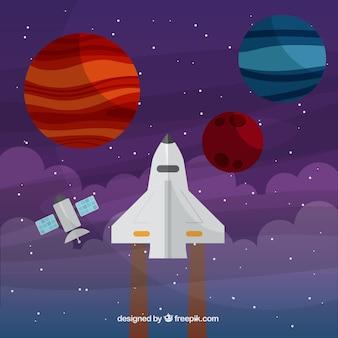 Raumschiff mit planeten hintergrund