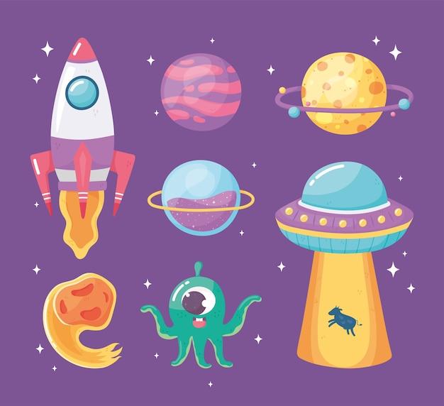 Raumschiff planet ufo asteroid und alien space galaxy astronomie cartoon illustration