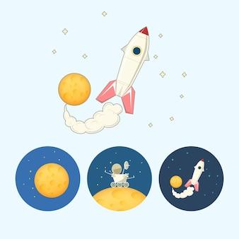 Raumschiff, rakete. set aus 3 runden bunten symbolen, mond mit sternen, der mondrover geht auf den mond, das raumschiff fliegt vom mond auf, vektorillustration