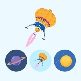 Raumschiff. set aus 3 runden bunten symbolen, saturn, planetensymbol, symbolraumschiff, ufo, mond mit sternen, vektorillustration