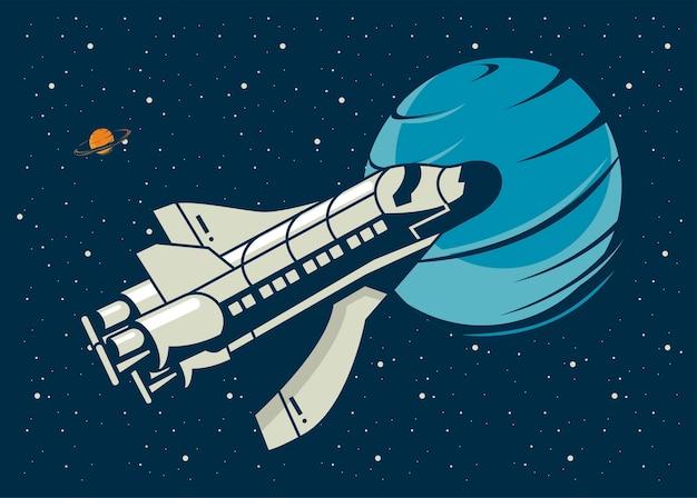 Raumschiff und venus in der plakatweinleseillustration