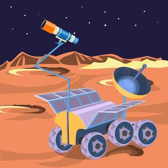 Raumschiff untersucht planeten im weltraum. entdecken sie den kargen mond auf einem rover. verbrauchbares raumschiff auf der mondoberfläche, das forscher von kratern und sternen realistisch macht. kann von astronauten bestiegen werden