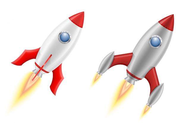 Raumschiff-vektorillustration der weltraumrakete retro-
