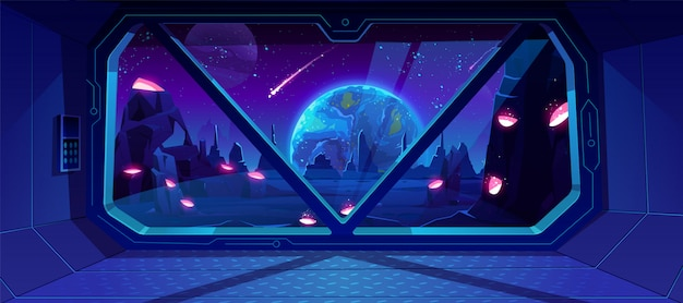 Raumschiffansicht über erde nachts vom ausländischen planeten