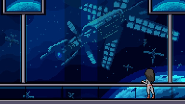Raumschiffbalkon der pixelkunstszene