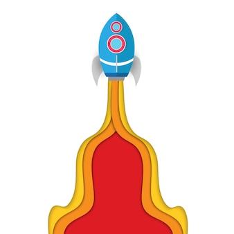 Raumschiffe gehen mit buntem turbostrahl zur mission