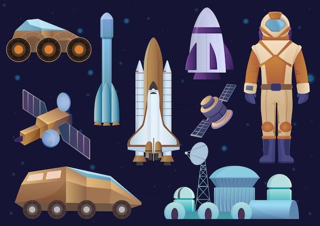 Raumschiffe, kolonialgebäude, rakete, kosmonaut im raumanzug, satelliten- und marsroboter-rover-set. galaxienraum gesetzt.