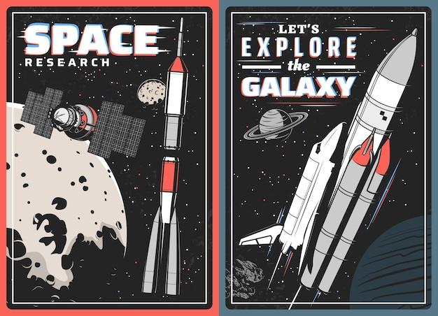 Raumschiffe, satelliten und planeten mit glitch-effekt