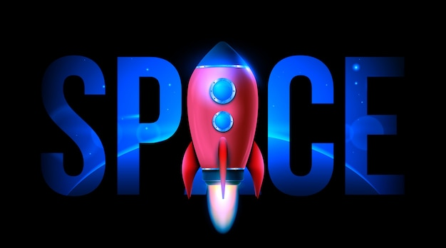 Raumschiffstart der rakete 3d. weltraumforschung.
