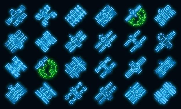 Raumstationsikonen eingestellt. umrisse von raumstationsvektorsymbolen neonfarbe auf schwarz