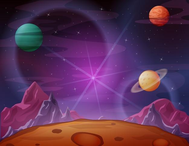 Raumszene mit purpurrotem raumhimmel