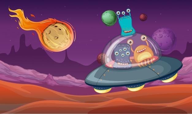 Raumthema mit aliens in ufo-landung auf planeten