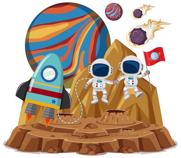 Raumthema mit astronauten, die flagge und raumschiff lokalisiert auf weißem hintergrund halten