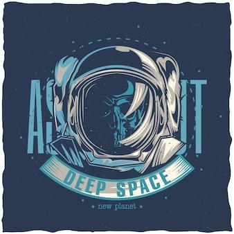 Raumthema-t-shirt design mit illustration des toten astronauten