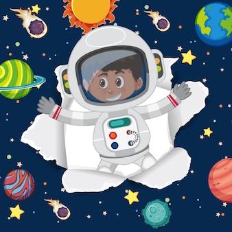 Raumthemahintergrund mit fliegendem astronauten im raum